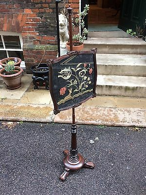 William IV Rosewood Pole Fire Screen