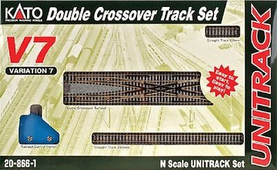 Kato 20-866-1, N Scale UniTrack V7 Double Crossover Track Set, 208661