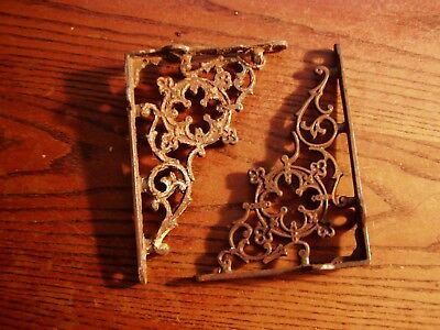Ornate MATCHING PAIR Antique  Charming Victorian Cast Iron  Shelf Brackets REAL