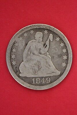 1849 P Seated Liberty Quarter Exact Coin Pictured Flat Rate Shipping OCE029