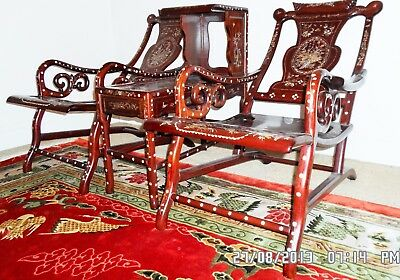 Chinese Rosewood with mother of pearl inlaid - 3 piece reclining set
