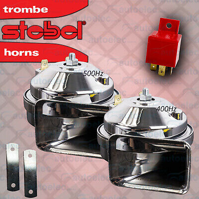 Stebel Electric Twin Low Tone Horn Chrome Car Truck Motorbike 12V Volt Tm80 2 Ac