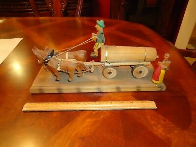Vintage German Carved Wood BEER WATER WAGON w/ MAN WOMAN MAIDEN WOMAN HORSE OX
