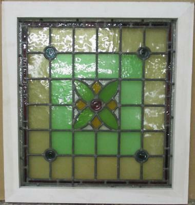"MID SIZED OLD ENGLISH LEADED STAINED GLASS WINDOW Cute Floral 22.75"" x 24.75"""