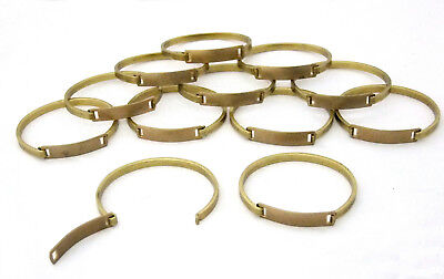 Raw Brass Bracelets With Rectangle ID Plate Package Of 12