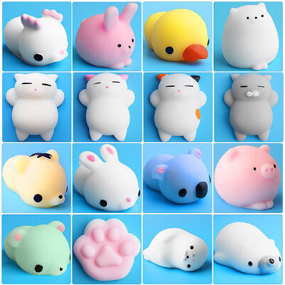 12PC Mochi Squishy Cat Squeeze Healing Fun Kids Kawaii Toy Stress Reliever Decor