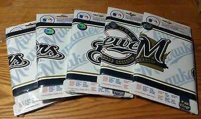 """Rare! Mlb Milwaukee Brewers Baseball Wallpaper Border 7"""" Wide Lot Of 5 Packages"""