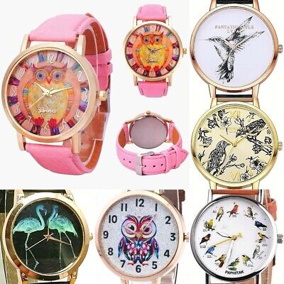 Women Men OWL Faux Leather OR Steel band Analog Quartz Wrist Watch Owls NEW