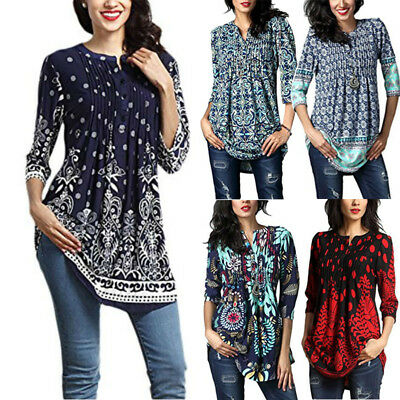 US Womens Loose Long Sleeve Cotton Casual Blouse Shirt Tunic Tops Fashion Blouse