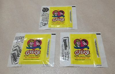 """1978 Topps """"Grease - Series 1"""" - All 3 Wax Pack Wrapper Variations"""