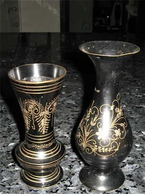2 Vintage Brass Vases / Made In India - Lovely Shape&Design - Good Cond For Age