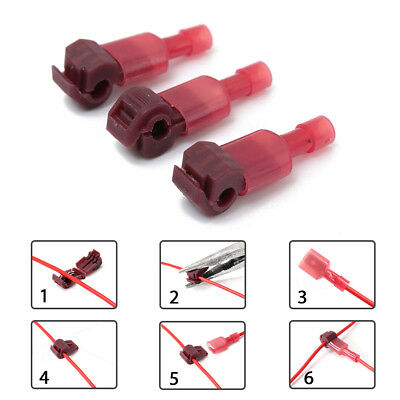 Red Quick Lock Splice Wire Connector Terminal Crimp Wiring Cable Clip  10pcs