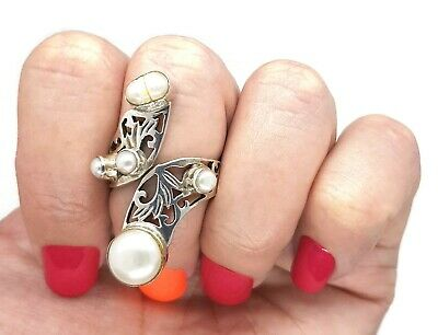 Handcrafted Pearl Ring, Adjustable Size, 925 Sterling Silver, NEW