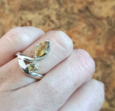 Citrine GEMSTONE Ring, 925 Sterling Silver, Size 6 3/4 US, Real ♡