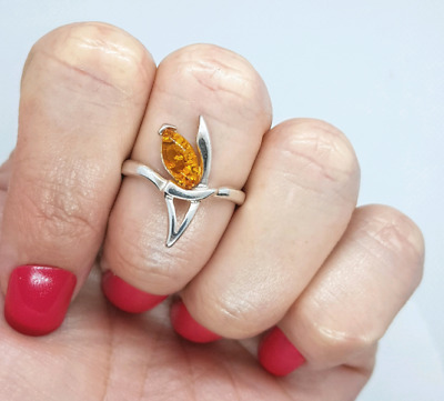 Yellow Amber Ring, Size small, 925 Sterling Silver, Baltic, NEW ♡