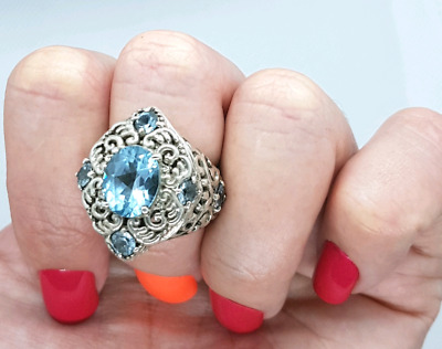 Antique Style, Blue Topaz GEMSTONE Ring, Size 7 US, 925 Silver!!!