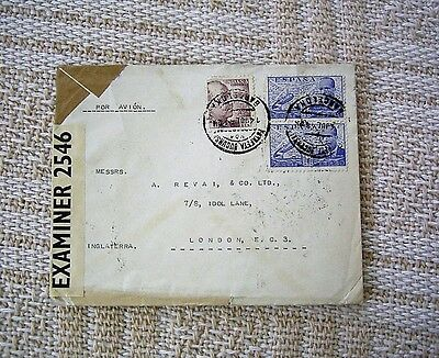 Spain Ww2 Censored Air Mail Cover From Barcelona To London