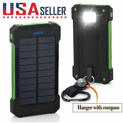 Waterproof 50000mAh 2 USB Solar Power Bank Battery LED Charger For Mobile Phone