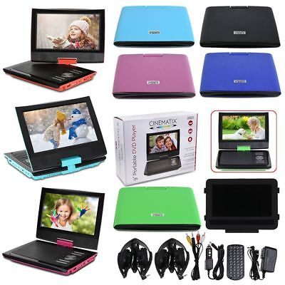 "9"" Portable DVD Player 180° Swivel USB SD Remote Control & Car Headrest Holder"