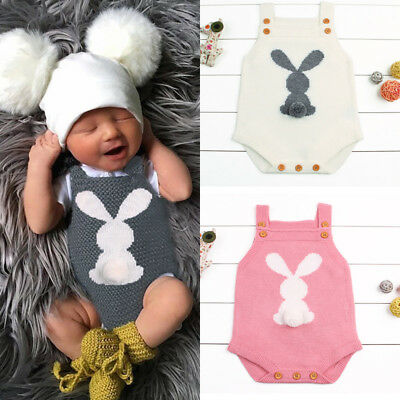 Newborn Baby Boy Girl Bunny Knitting Wool Romper Bodysuit Jumpsuit Outfit Set AU