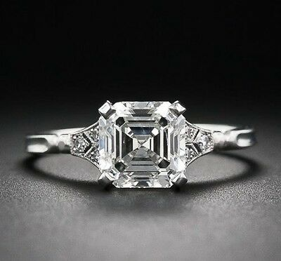 Solid 925 Sterling Silver 2.55Ct Cut Asscher Brilliance Engagement Promise Ring