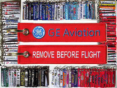 Keyring General Electric GE AVIATION Remove Before Flight tag keychain