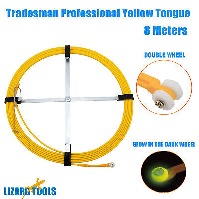 4M Fiberglass Cavity Cable Ferret Snake Rodder Yellow Tongue Electrician Tool