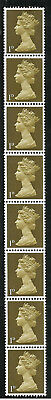 Sg 724 1d Light Olive Machin PVA 2B Vertical coil strip - UNMOUNTED MINT