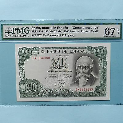 Spain 1971 (ND 1974) 1000 Pesetas, Pick # 154, PMG 67 EPQ Superb Gem Unc
