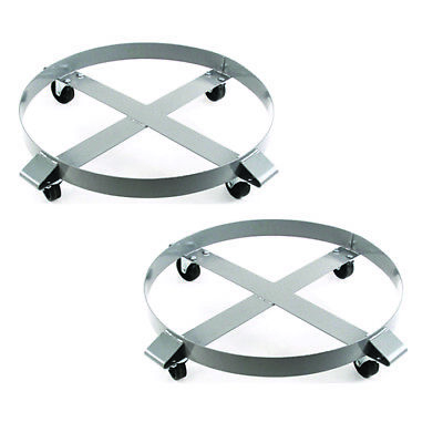 Drum Dolly 1000 lb 55 Gal w Swivel Casters Heavy Duty Steel Frame Non Tipping x2