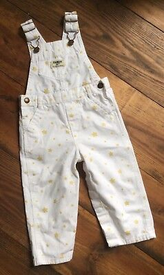 Osh Kosh Girl's White with shiny gold stars Overalls Vestbak 18 Mos  HTF Snaps