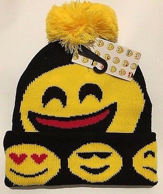 Unisex Kids Boys Girls Winter Smiley Emoji Hat Warm Bobble Ski Hat Winter Hat