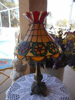 antique vintage ornate metal TABLE LAMP w/ faux hard plastic STAINED GLASS SHADE