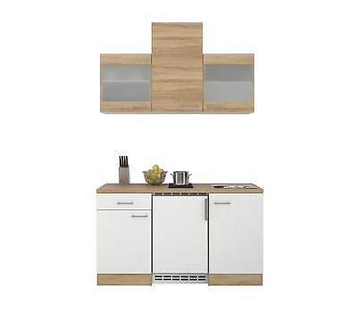 singlek che rom b rok che minik che mit k hlschrank und kochfeld 150 cm weiss eur 589 00. Black Bedroom Furniture Sets. Home Design Ideas