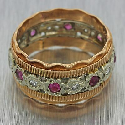 1930s Antique Art Deco 14k Solid Yellow White Gold .48ctw Ruby Diamond Ring