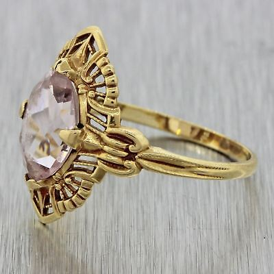 1920s Antique Art Deco 10k Solid Yellow Gold 1.50ct Pink Stone Filigree Ring