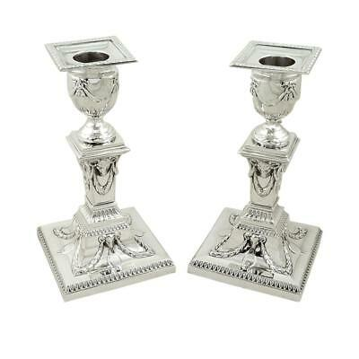 PAIR OF ANTIQUE VICTORIAN STERLING SILVER CANDLESTICKS with RAMS HEADS - 1899