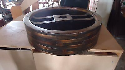 """LARGE Antique Grist Mill Wooden Wheel 31.5"""" across, 8.5 wide, hole 3.5"""""""