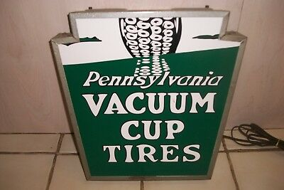 'Pennsylvania Vacuum Cup Tires' Lighted Sign