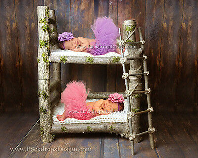 Twins  Bunk Newborn log bed photo prop baby photography prop wood bed hand made
