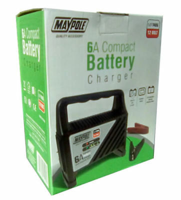 New Genuine Maypole 6 Amp Compact Battery Charger Car Led Charging Gauge