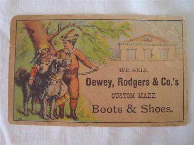 Late 1800's Victorian Trade Card - DEWEY, RODGERS & CO'S Custom Boots & Shoes