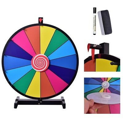 """18"""" 14 Slot Tabletop Color Prize Wheel Dry Erase Fortune Spinning Game Toy Tool"""