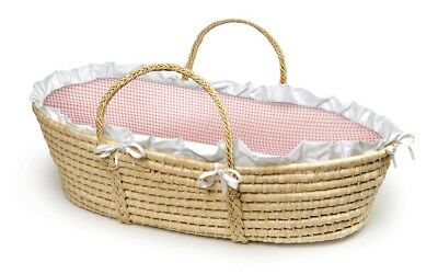 Natural Baby Infant Newborn Moses Basket Pink Gingham Bedding NEW