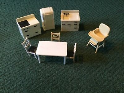 Vintage Renwal Plasco Doll House Kitchen Set Furniture Table High Chair Etc