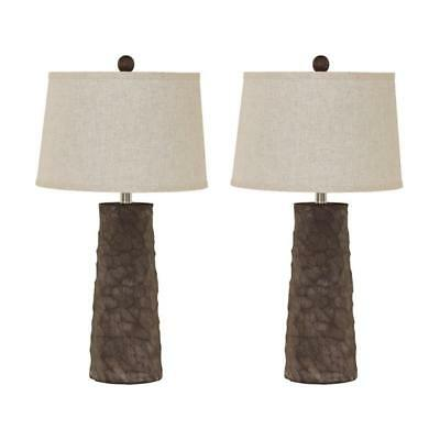 "28.75"" H Wood Finished Table Lamp with White Fabric Empire Shade Set of 2"
