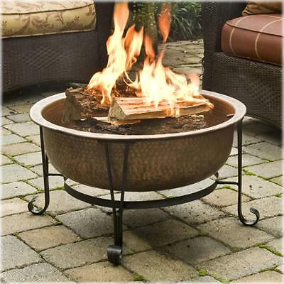 Vintage Fire Pit with Spark Guard Cover and Vinyl Cover Copper Fire Tub
