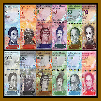 Venezuela 2-20000 Bolivares (12 Pieces Pcs Set), 2007-2016 P-88 To New Unc