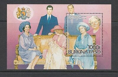 QUEEN MOTHER/PRINCE WILLIAM - Burkina Faso  1985 sheet of 1-  (SC 707)- MNH-X295