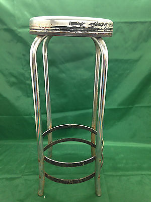 Vintage Industrial Chrome Shop Stool  Mid Century Steampunk  Repurpose Upcycle